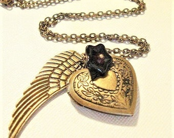 Heart Locket Necklace Angel Wing Necklace Brass Heart Locket Angel Wing Jewelry Locket Necklace Steampunk Necklace