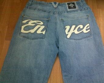 Enyce jeans blue baggy jeans vintage 90s hip-hop clothing, 1990s hip hop shirt, OG, gangsta rap, size W 36