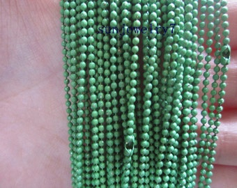 20pcs 68cm 1.5mm  light  Green Ball Chain Necklace Chain For Jewelry Making
