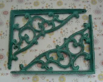 "Wall Bracket Cast Iron Shelf Ornate Vine 7 1/4"" x 5 3/8"" Brace Turquoise Aqua Cottage Chic Shabby Elegance 1 Pair (2 individual brackets)"