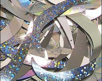 Pure Silver mix tusk sequins. 55mm. JR02337