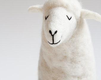 Felted Sheep - Lana, Waldorf toy, Puppet, Felt Toy, Stuffed Animals, White sheep Baby shower gift Plush Soft Toy Nursery decor, Felted Toy.
