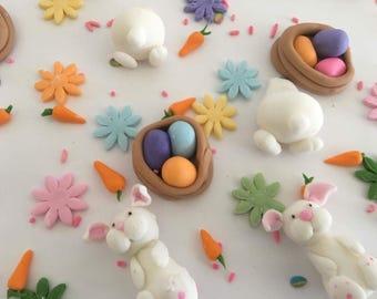 Complete bunny fondant cake decoration set
