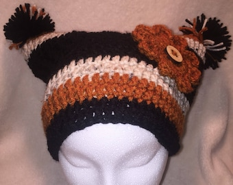 Double Pom-Pom Crocheted Hat With Flower and Button Accent