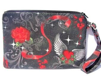 Wristlet, Zipper Pouch, Wrist Purse, Wristlet Clutch, Phone Case, iphone/Samsung /LG Case, adjustable wrist strap, made with twilight fabric