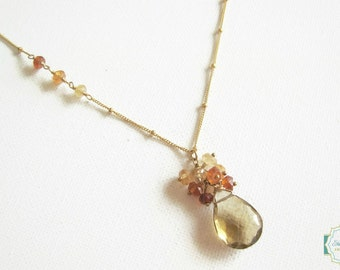 whiskey quartz necklace ombre hessonite garnets wire wrapped necklace gemstone jewelry valentines day gift for her