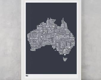Australia Map, Australia Print, Australia Type Map, Australia Word Map, Australia Text Map, Australia Artwork, Australia Wall Poster