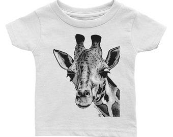 Giraffe Infant Tee Cute Rabbit Skins brand for Baby Black and White Design Giraffe on White TShirt Striking Design Adorable Giraffe Love