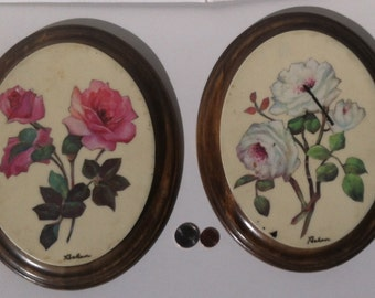 2 Vintage Wooden Wall Hanging Pictures, Flowers, 10 x 8 1/2 inches, Hand Made Wall Pictures, Art, Roses, Home Decor, Home Decoration