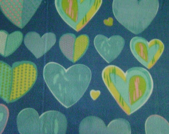 Blue and Yellow Hearts Double Sided Fleece Blanket