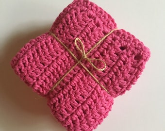 Crochet Bath Cloths - Pink - Set of three - Cotton