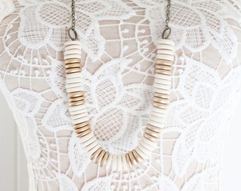Wood Bead Necklace, Neutral Beaded Necklace, Boho Statement Necklace, Neutral Jewelry, Wood Bead Necklace