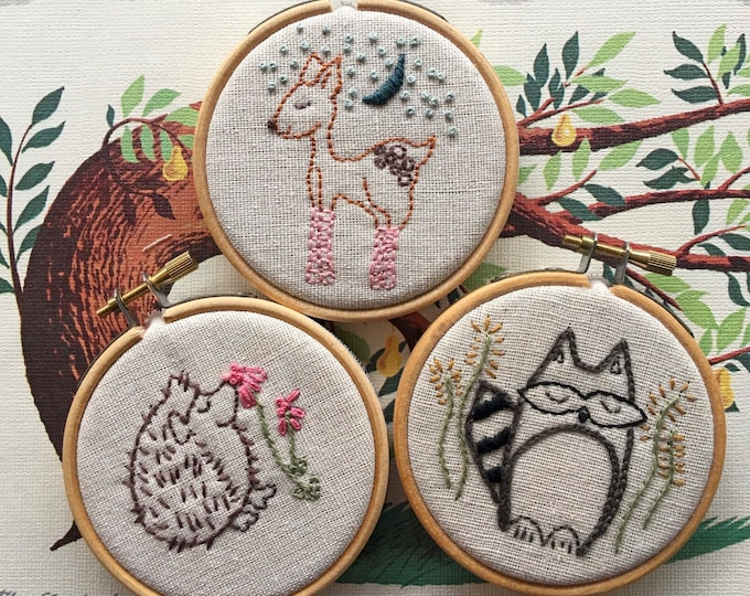 hand embroidery pattern | modern embroidery | Woodland Creatures - Instant Digital Download