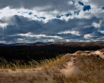 Sleeping Bear Sand Dunes Landscape Photograph, Sand Dune Photo, Michigan, Leelanau, Sand Dune Art