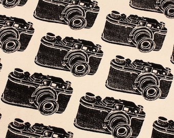 Antique Vintage Leica Camera Canvas Fabric made in Korea by the Half Yard
