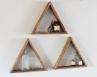 Set of three geometric Wall Art, Shelf, geometric Home Decor, wall hanging, wall shelf, reclaimed wood, modern, industrial, rustic,