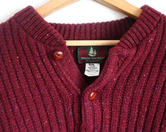 Vintage Knitted Sweater In Maroon with Rainbow Flecks