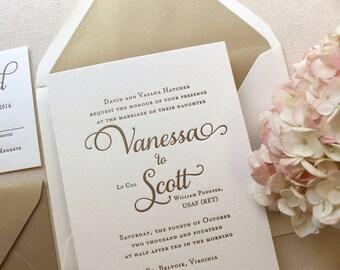 The Garden Rose Suite, Classic Letterpress Wedding Invitation Sample, Gold, White, Formal, Elegant, Traditional, Modern, Calligraphy, Script