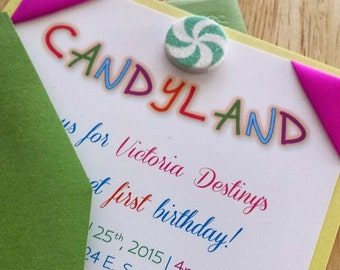Hot Pink and Sunshine Yellow Candyland Birthday Party Invitations