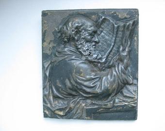 Antique Iron Cast Plaque Apostle Paul