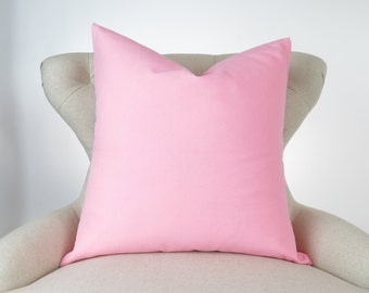Throw Pillow Cover, Decorative Cushion, Euro Sham, Accent Pillow, Plain Pillow, Solid Color -MANY SIZES- Dyed Baby Pink, Premier Prints