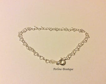 925 sterling silver heart link bracelet