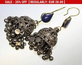 Indian Tribal Earrings with Blue Lapis Stones, Vintage Tribal Fusion Earweights, 1 Pair Tribal Pendants with Bells, Kuchi Nomad Jewelry