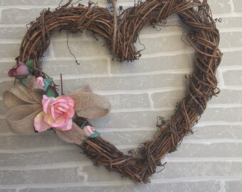 Heart wreath pink flower accent, wooden twig wreath, pink flower wreath, rustic decor, indoor twig wreath, wooden heart wreath
