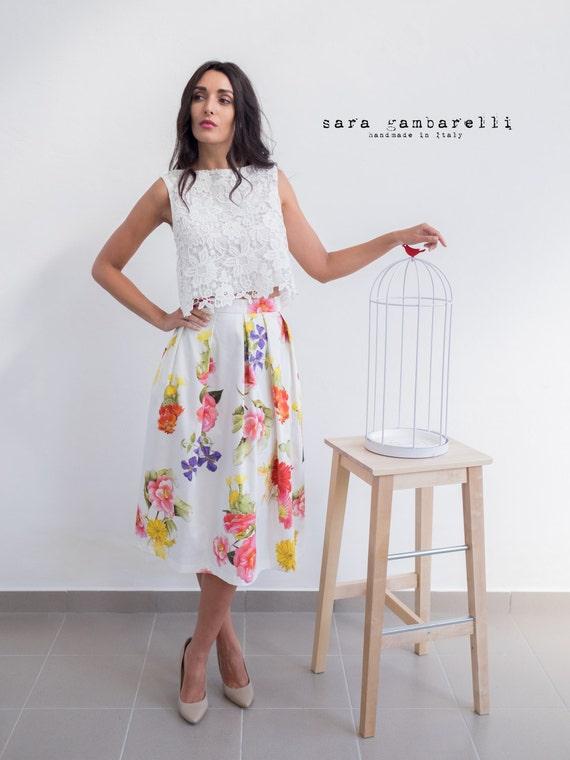 FLOWER PRINT SKIRT, printed midi skirt, floral print skirt, tea length pleated skirt, 1950s style skirt, A line flared skirt with pockets