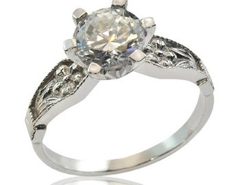 Resplendent Engagement Ring Inlaid Big Diamond in 14K Gold