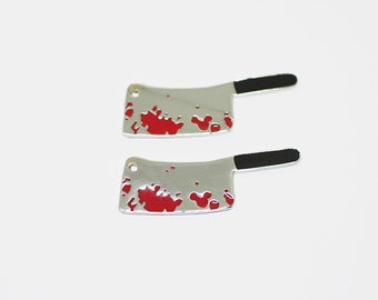 4 pieces - Large Bloody Butcher Knife Charm pendants, Cleaver knife, Dexter Jewelry, Halloween