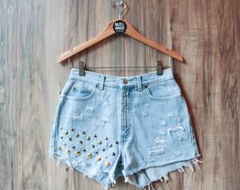 High waist studded denim shorts Size 6 | High waisted denim shorts | Ripped distressed shorts | Hipster shorts |  Festival shorts |