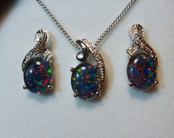 Natural Opal Pendant & Earring Matching Set, Sterling Silver #110422.