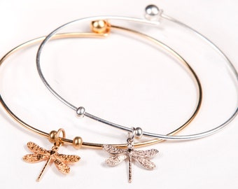 Dragonfly bangle, Dragonfly bracelet, dragonfly jewelry, bangle bracelet, personalized bangle, charm bracelet, Remembrance Jewelry