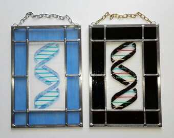 Handmade fused glass DNA panel with traditional leaded framing.