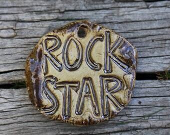 Ceramic Pendant  handmade stoneware clay Rock Star pendant art bead earthy organic artisan jewelry suppies