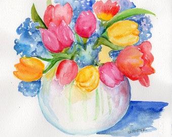 Original Aquarell - Blumen Tulpen, Hortensien 8 x 10 kleine Blume Kunstwerk, Aquarell Blumen, Blumen Wand Sharon Foster Kunst