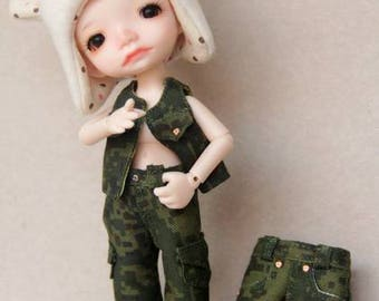 Khaki outfit for Irrealdoll, Lati Yellow, Luts jeans vest shorts cargo pants bjd doll