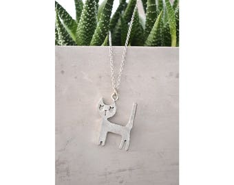 Silver Cat necklace - Cat lover - Gift for her