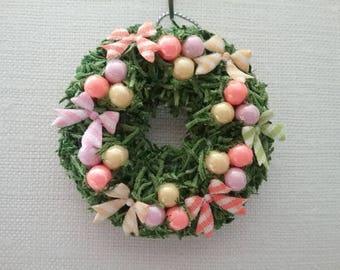 Miniature Dollhouse/Village Spring Wreath - yellow, orange, pink  - Medium