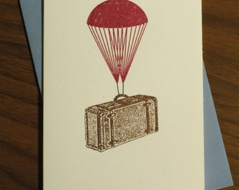 Parachute Suitcase - Gocco Screen-Printed Card