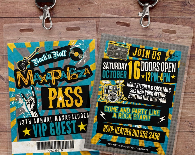 Rock Star, VIP PASS, backstage pass, Vip invitation, birthday, pop star, rock star birthday, roller-skate party VIP, 80's, lollapalooza