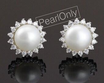 pearl ear stud earring,freshwater pearl earring stud,pearl flower earring,pearl crystal earrings,small pearl earrings,bridesmaid earrings