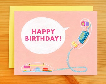 SALE!! Happy Birthday Phone Call Greeting Card