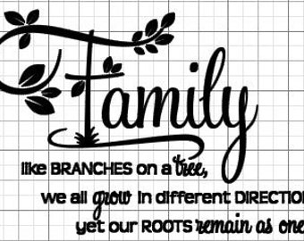 Beautiful Family Decal...for 6x6 or 8x8 glass block
