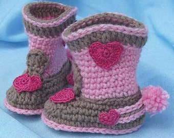 "Sweet Girl's Cowboy boots, pink/brown, hearts and ""spurs"""