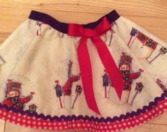 Snowman circle skirt, sparkle fabric!