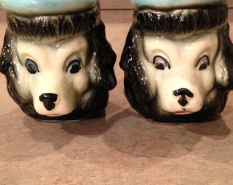 Vintage Ceramic French Poodle's With Beret's Salt & Pepper Shakers
