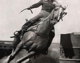 vintage mid century texan rodeo girl illustration photograph