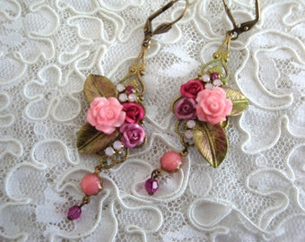 floral earrings, Stud Earrings trio of roses